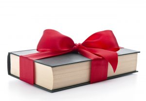 A gift book with a bow